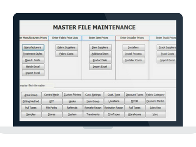 Manage products and pricing effortlessly with Drape and Blind software masterfiles.  All information is in the one places and can be accessed easily with DBs.