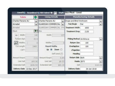Create fast quotes with Drape and Blind Software.  Inbuilt forms and pricing make it easy.